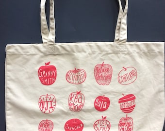 Apple Tote Bag, Market Tote, Screen Printed Tote, Food Bag, Reusable Bag