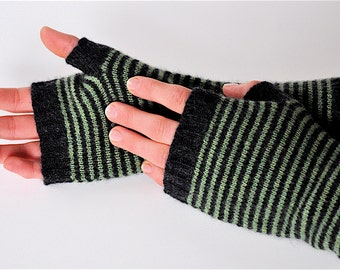 Long Fingerless Gloves, Hand Warmers, Charcoal & Green Stripe, Made to Order