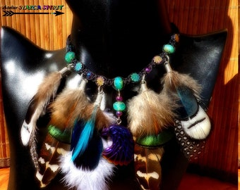 Choker necklace / Native American / Bohemian crystal / carved Eagle / Sun multicolored Hematite beads / natural feathers