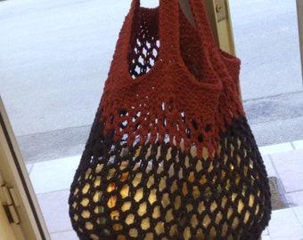 Handmade Shopping Bag, Market Bag, Gift for Mother, Gifts for her, cotton - acrylic, Handmade crochet Shopping Bag, blue - burgundy, #etsy