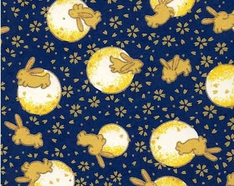 Chiyogami or yuzen paper - bunny over the moon, midnight blue and gold, 9x12 inches