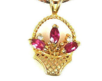Pink Rhinestone Flowers In Basket Necklace Pendant