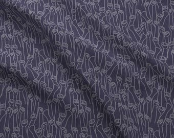 Political Protest Fabric - Protest Fists On Dark Purple By Landpenguin - Social Justice Activist Cotton Fabric By The Yard With Spoonflower