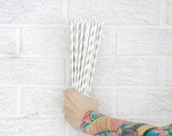 25 metallic silver paper straws ...  baby bridal shower decorations // candy dessert buffet table // wedding party decor // shabby chic