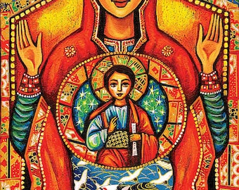 Our Lady of the Sign, Mother Son art, Mother Child art, Mary Jesus Child, Christian art, Poster Woman Wall Decor print 8x12+