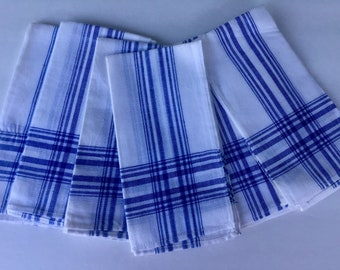 Set of 6 Blue and White Striped Cotton Vintage Napkins