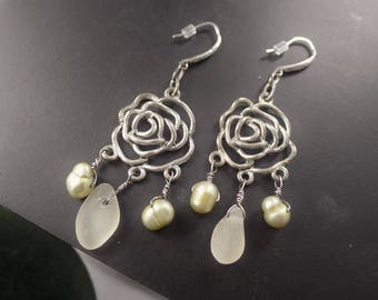 Silver Rose Chandelier earrings with Sea glass & Freshwater Pearls