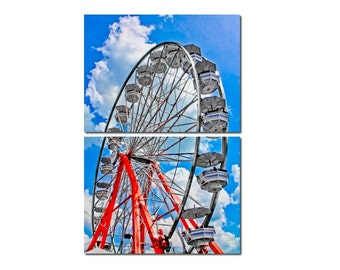 Ferris Wheel Red, White & Blue Canvas Diptych, 2 Panel Art, LARGE, Ready to Hang