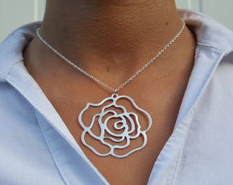 Rose necklace, love rose charms, big rose necklace, woman rose pendant, long rose necklace, metal rose pendant, large silver rose-large rose