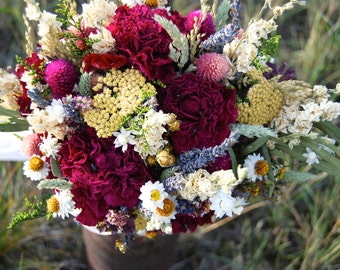 Romantic Montana Brides Fall Wedding Bouquet  Lavender and Burgundy Peonies, Dried Flowers, Grasses and Grains