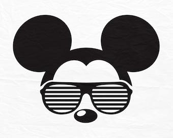 Disney, Mickey, Mouse, Sunglasses, Icon, Head, Ears, Digital, Download, TShirt, Cut File, SVG, Iron on, Transfer.