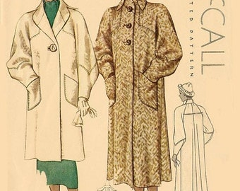 ON SALE Vintage 1930s Rare Bias Cut Coat Sewing Pattern McCall 8637 30s Art Deco Mail 30s pattern Size 14 Bust 34