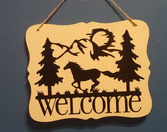 Handmade Equestrian Welcome Sign