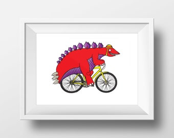 Stegosaurus Bike Ride - Print - Dinosaur Art - Cycling Art - Bike Art - Dinosaur Poster - A4 Print - Stegosaurus - Wall Art