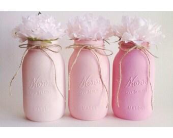 Ombre Mason Jars, Pink Ombre Centerpiece, Ombre, Pink Mason Jars,