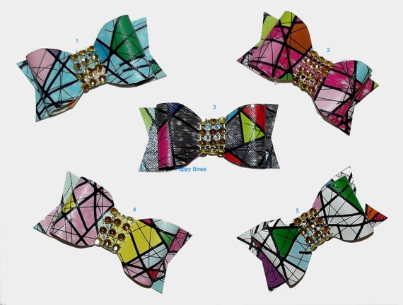 Puppy Bows ~ Stained Glass barrette pet hair clip with rhinestone centers ~USA seller (fb10)