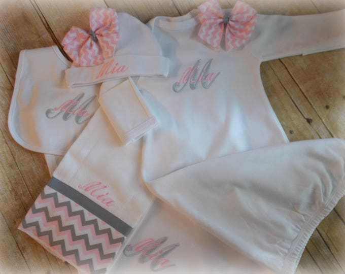 Monogram Initial Embroidered Gown set - Monogram baby blanket - Personalized Take Home Outfit - Newborn Girl Gift Set -  Pink grey chevron