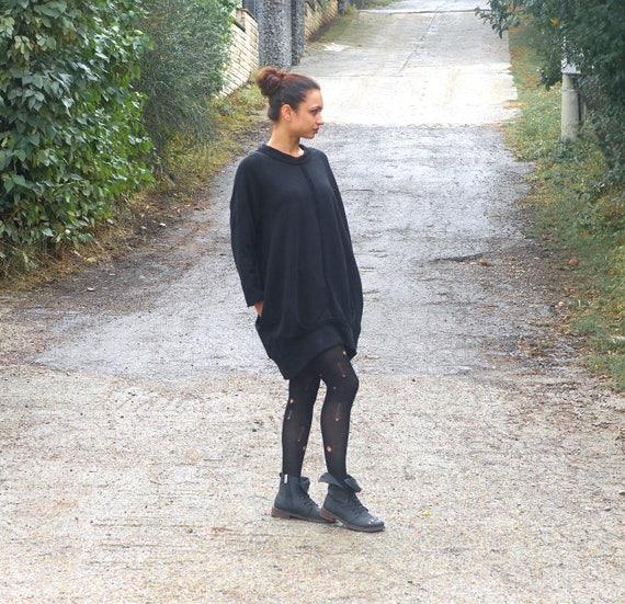 Loose Asymmetric Black Tunic Dress / Casual Oversized Tunic / Plus Size Black Dress / Balloon Dress / Minimalist Black Dress