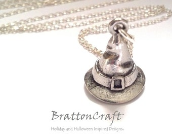 Silver Witches Hat Necklace - Witch Hat Necklace - Wizard Hat Necklace - Witch Necklace - Fun Halloween Necklace - Samhain