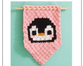 Penguin C2C Banner Pattern | Crochet Penguin Wall Hanging Pattern| Corner to Corner Penguin Graph | PDF Crochet Pattern