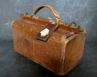 Antique French Leather Doctors Bag -1900's