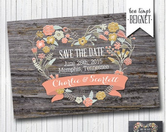Printable Rustic Save the Date Card - Printable Digital Download - Wedding Stationary - Printable Wedding - Peach Wood Floral Card