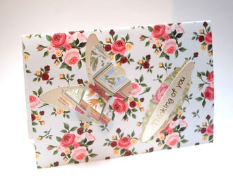 Retro  pink /red  floral card  with 3d butterfly