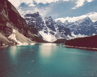 SNOWCAPPED photography print, Rocky Mountains landscape Canada, 8x12