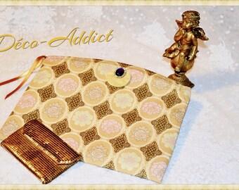 Kit jewelry yellow ocher - Baroque prints - pure cotton designer fabric