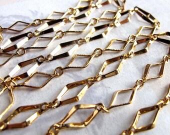 Vintage Gold Plated Unique Diamond Designer Chain (2 feet) (C679)