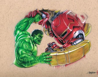 """Thang Nguyen - """"Hulk vs Hulk Buster"""" - The Avengers 8x12 Signed Limited Edition Giclee on Fine Art Paper #/25"""