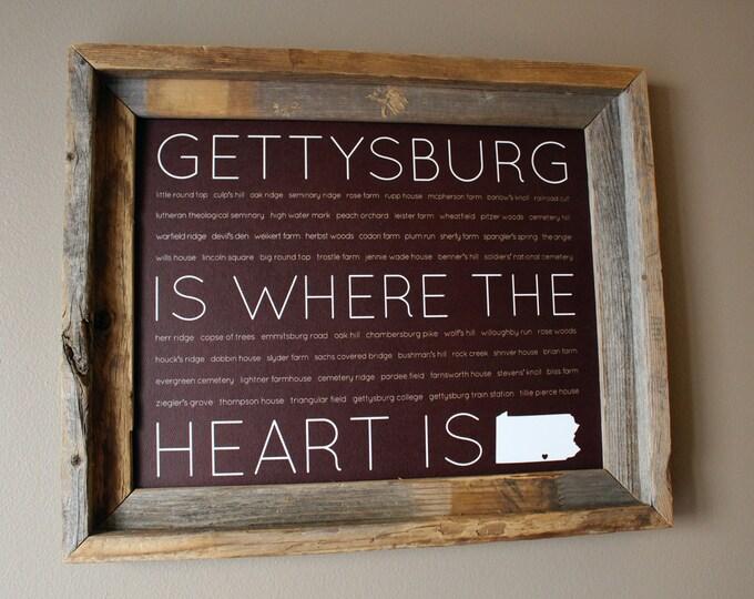 Gettysburg Is Where The Heart Is Word Art Print (Dark Maroon) - Unframed