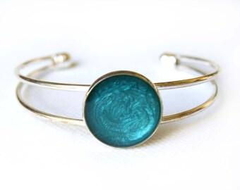 Turquoise hand painted bracelet, turquoise resin bracelet, turquoise bangle