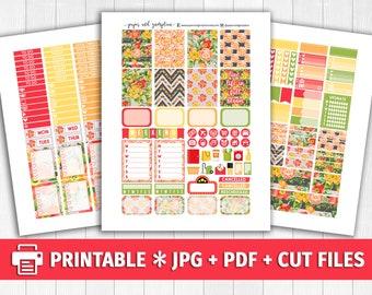 FALL into BLOOM Printable Planner Stickers/for use with Erin Condren/Weekly Kit/Silhouette Cutfiles/Fall Autumn Floral