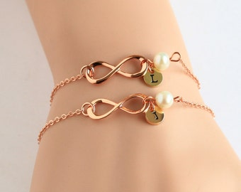 bridesmaid bracelet set, rose gold infinity bracelet, pearl wedding bracelet, best friends bracelet, bridal bracelet, flower girl Bracelet