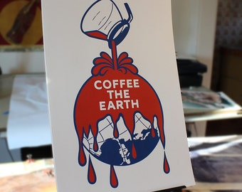 Coffee The Earth - remix of the Sherwin Williams logo digital art print