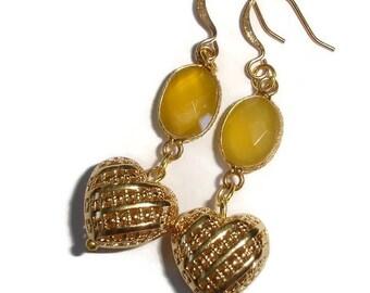 Chalcedony earrings heart earrings valentine earrings gemstone earrings yellow Chalcedony gold earrings gold heart 2 inch earrings nice gift