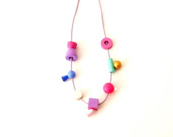 colorful beads necklace, playful necklace, one of a kind, woody, eco jewellery, organic necklace, natural necklace, accessories necklace