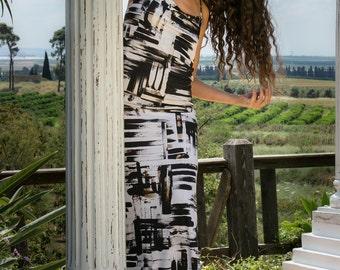 SALE 40% OFF, Black and White Maxi Dress, White Maxi Dress ,Boho Prom Dress, Boho Party Dress