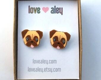 Pug Earrings Dog Earrings Cute Earrings Pug stud earrings Pug Jewelry Gift for her christmas gift holiday gift