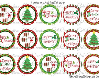 "Christmas 1"" circle digital images for scrapbooking, bottlecap, pins, etc.. No. 256"