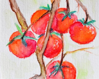 Original Watercolor Painting, Red Tomatoes, Garden Vegetable Art 4x6 Inch