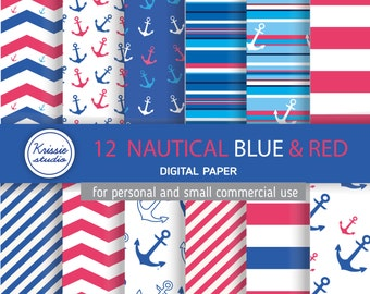 SALE *** 12 Nautical  Blue & Red Digital Paper - Backgrounds - for graphic design, crafts,scrap booking - INSTANT DOWNLOAD (DP055)