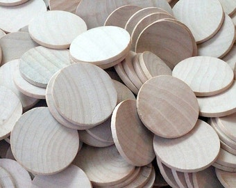 36 Round Circle Wood Disc - 1.5 Inch - Woodworking Wooden Cut Outs Shapes Craft Supplies