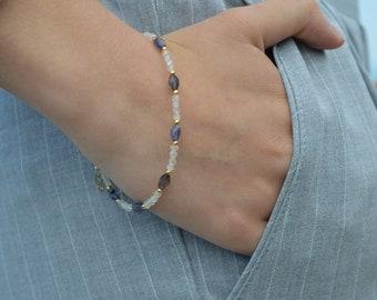 Labradorite Bracelet, Iolite Bracelet, Gemstone Bracelet, Stacking Bracelet, Gift For Sister, Birthday Gift Idea, Minimalist Jewelry