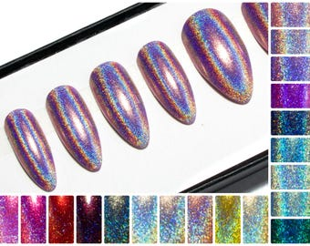 Holographic Glue On Nails - Almond Press On Nails - Pointy Glitter False Nails - Gloss Acrylic Nails - Holo Fake Nail Set - Oval Gel Nails