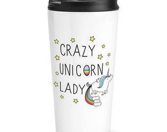 Crazy Unicorn Lady Travel Mug Cup
