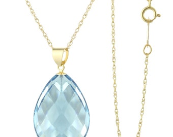 14k Solid Yellow Gold Natural Faceted Pear London Blue Quartz Pendant Necklace