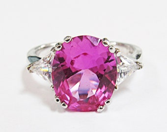 Vintage Sterling Silver Synthetic Pink Sapphire & CZ Ring