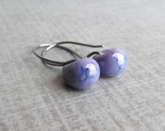 Violet Drop Earrings Oxidized Silver, Purple Earrings, Small Dangle Earrings Purple Glass, Sterling Silver Oxidized Earrings, Glass Drops